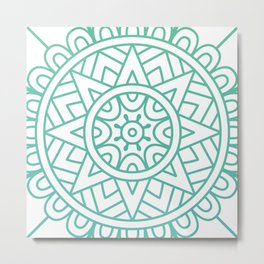 Green Floral Pattern Metal Print
