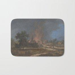 Brand in een dorp, Barbara Regina Dietzsch, Christoph Ludwig Agricola, 1716 - 1783 Bath Mat