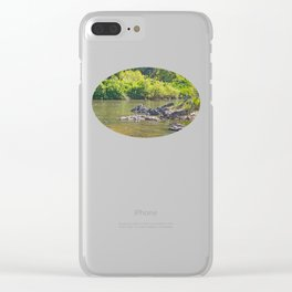 Beautiful rocks in the tranquil river Clear iPhone Case