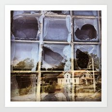House Reflected in a Broken Window Art Print