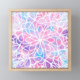 Artsy Abstract Girly Pink Blue Floral Paint Art Framed Mini Art Print