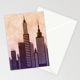 Modern City Buildings And Skyscrapers Sketch, New York Skyline, Wall Art Poster Decor, New York City Stationery Cards
