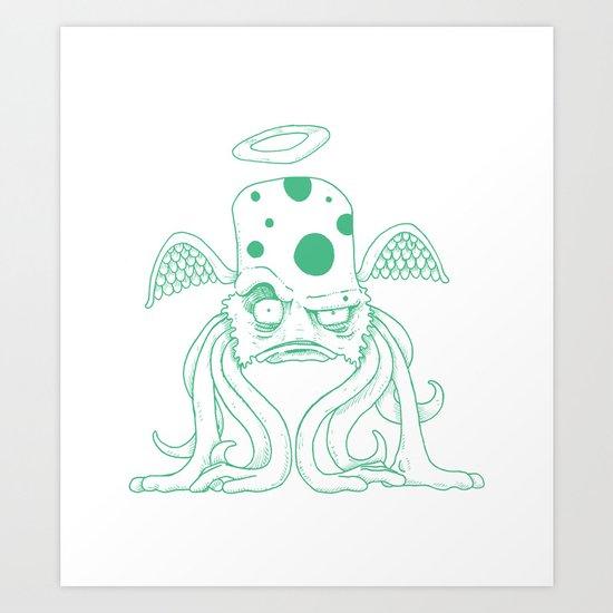Space Alien Sci Fi art Lines Only by RonkyTonk Art Print