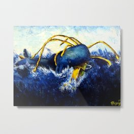 Whale vs Colossal Squid Metal Print