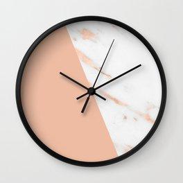 Marble Geometric Rose Gold Pink Quartz Wall Clock