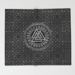 Silver Metallic Valknut Symbol on Celtic Pattern Throw Blanket