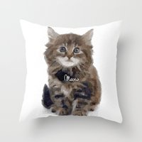 meow Throw Pillows featuring Meow! by 83 Oranges™