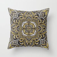 black and gold Throw Pillows featuring Black & Gold by Paula Savage