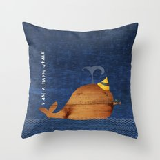 i am a happy whale Throw Pillow
