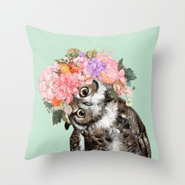 Owl with Flowers Crown in Green Throw Pillow