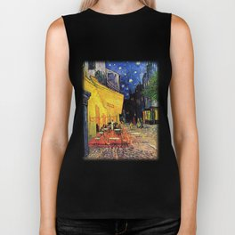 The cafe terrace on the place du forum, Arles, at night, by Vincent van gogh.  Biker Tank