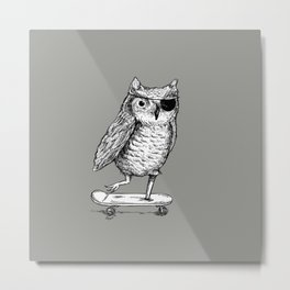 Ride On Owl_grey Metal Print