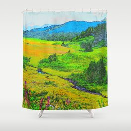 Alaska's Kenai Peninsula - Watercolor Shower Curtain