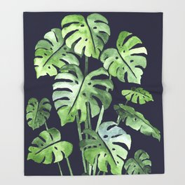 Delicate Monstera Blue #society6 Throw Blanket