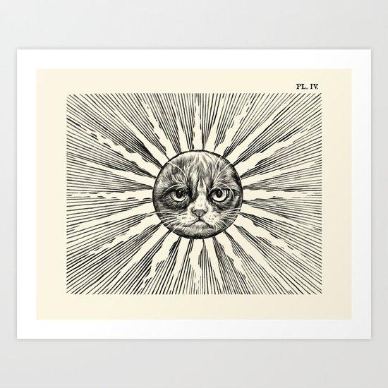 Grumpy Face in Sun Art Print