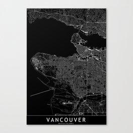 Vancouver Black Map Canvas Print