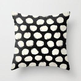 Trendy Cream Polka Dots on Black Throw Pillow