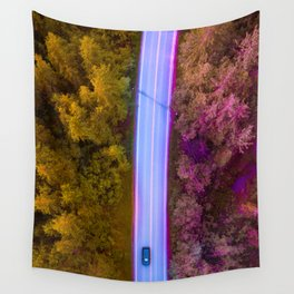 the purple road in the forest Wall Tapestry