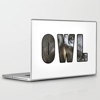 font Laptop & iPad Skins featuring Font Owl by Jinzha Bloodrose