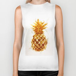 pineapple in brown and yellow with geometric triangle pattern abstract Biker Tank