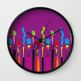 Colorful Artist Tools Contemporary Arts Wall Clock
