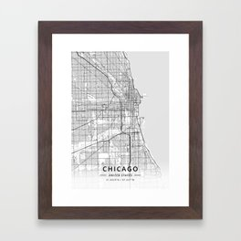 Chicago, United States - Light Map Framed Art Print