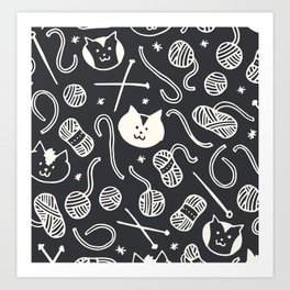 Cats LOVE Yarn! in Grey Art Print
