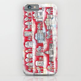 Madison, WI Neighborhoods Continuous Line Drawing on vintage map UW Badgers iPhone Case