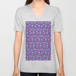 Modern green pink violet hand drawn birds pattern Unisex V-Neck