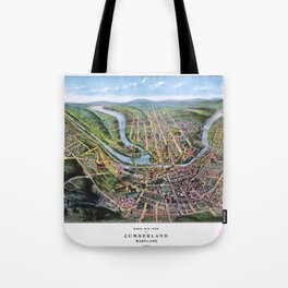 CUMBERLAND MARYLAND city old map Father Day art print poster Tote Bag