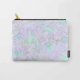 Modern lavender turquoise hand drawn watercolor botanical floral Carry-All Pouch