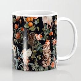 Cat and Floral Pattern II Coffee Mug