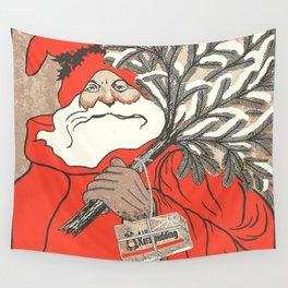 Christmas Pudding And Vintage Santa Vector Wall Tapestry