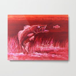Trout Attack In Red Metal Print