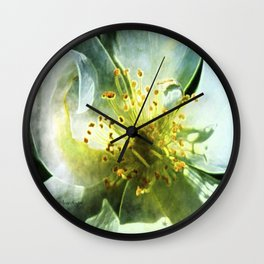 Yellow Rose Center with smokey overlay by CheyAnne Sexton Wall Clock