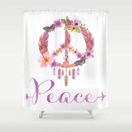Peace Symbol Flower Power 70s Art Shower Curtain