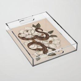 Snake and Magnolias Acrylic Tray