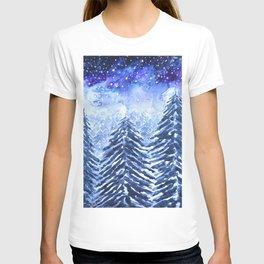 pine forest under galaxy  T-shirt