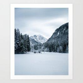 Mountains and frozen lake Zgornje Jezersko Art Print