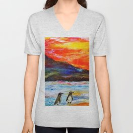 Beautiful Penguins With Sea Lion By The Blue Ocean Painting Unisex V-Neck