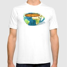 Coffee World SMALL White Mens Fitted Tee
