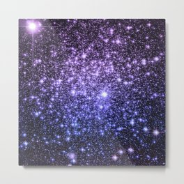 Galaxy Sparkle Stars Purple Periwinkle Blue Metal Print