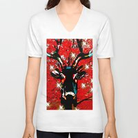 sparkle V-neck T-shirts featuring Reindeer Sparkle by Saundra Myles