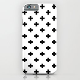 Black and White Swiss Cross Pattern iPhone Case