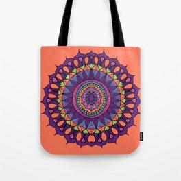 Groovy Dayglo Boho Mandala Tote Bag