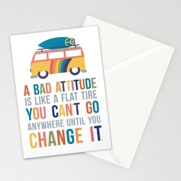 A Bad Attitude Is Like a Flat Tire Quote Art Stationery Cards
