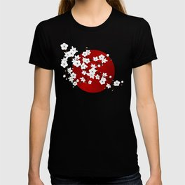Red Black And White Cherry Blossoms T-Shirt