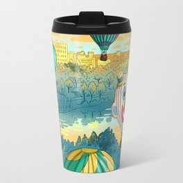 Hot Air Balloons Over Forest Park Travel Mug