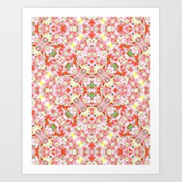K-196 Abstract Pink Flowers Art Print