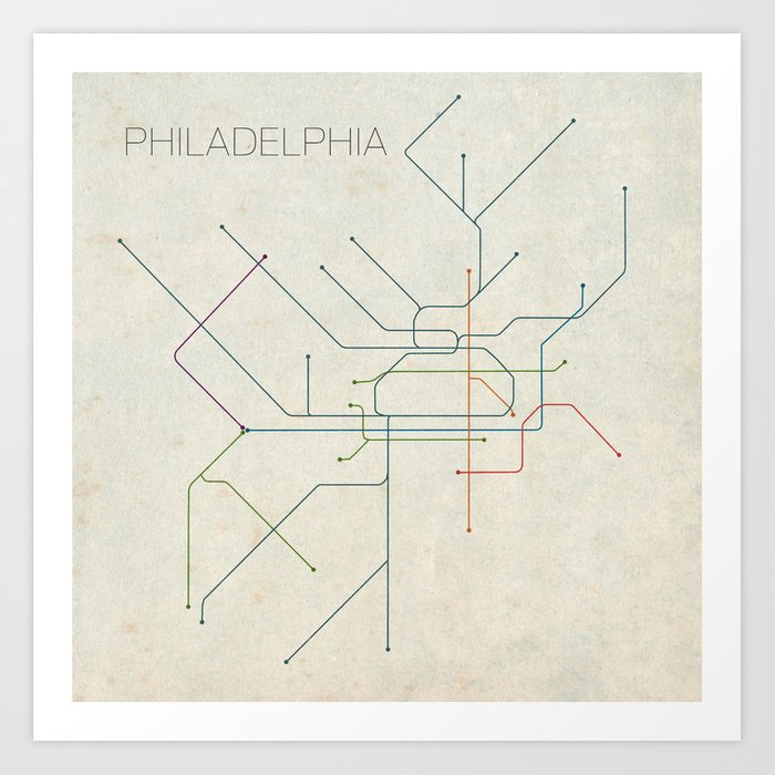 Minimal Philadephia Subway Map Art Print By Chrisnapolitano Society6